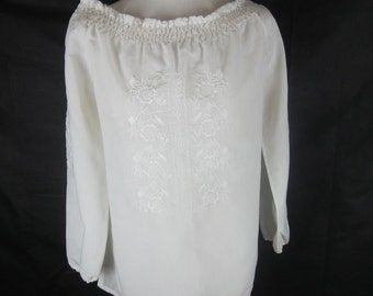 1980s Vintage Embroidered Peasant Blouse