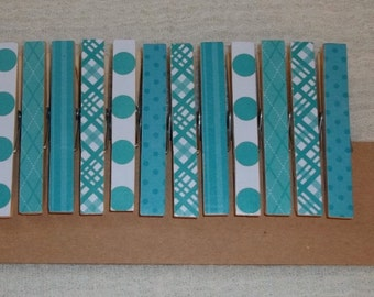 12 Decorative Clothespin clips-Turquoise Prints