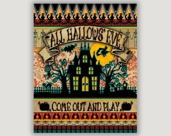 All Hallows' Eve, Halloween art, Halloween decor, spooky Halloween, Halloween fun, Halloween foyer art, Halloween print, Halloween mantel