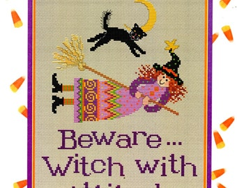Beware … Witch With Attitude Broomstick Black Cat Star Crescent Moon Pointy Hat Counted Cross Stitch Embroidery Craft Pattern Leaflet L401