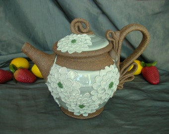 Ceramic Teapot in White Chrysanthemums on Speckle Brown Clay