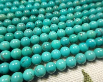 "20. Chinese Turquoise 4mm Round Bead 16"" Inches Strand 96 Pcs Stones Beads"