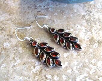 Vintage Sterling Silver Leaf Earrings with Garnet Glass Stones