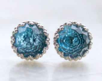 Vintage Inspired Filigree Rose Cut Blue Topaz and Sterling Silver Post/Stud Earrings - Eco Friendly, Nickel Free, & Ready to Ship