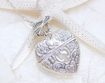 Sterling Silver Antique Reproduction Repose' Heart Trinket Box Lavaliere Necklace - Eco Friendly Recycled Silver - Ready to Ship
