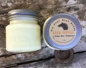 Warm Vanilla 8 oz Mason Jar Soy Candle Rustic Hand poured