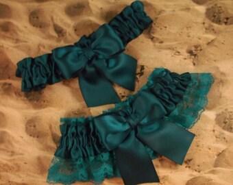 Teal Blue Lace Teal Ribbon Bridal Wedding Garter Set Toss