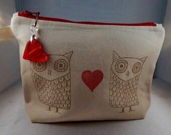 Owl Stamped Cosmetic Makeup Travel Makeup Bag Muslin Brown
