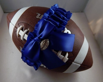 Football Toss Garter Royal blue Bow Satin Football Charm Wedding Accessories Football Band ( Football not included)