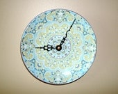 Pastel Turquoise and Lime Floral Wall Clock - Patterned Porcelain Plate Clock - Kitchen Clock - Unique Wall Decor - Nursery Decor - 1795