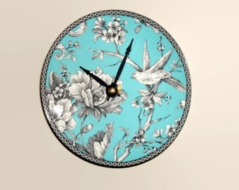 SMALL 6.5 Inch Bird Wall Clock in Turquoise Black and White, SILENT Porcelain Plate Clock, Bird and Floral Clock, Unique Wall Decor - 2179