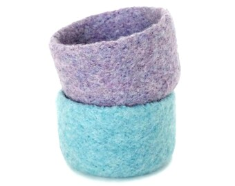 Felted Bowls Set Of 2 Felt Baskets Spring Decor Two Pink Lilac Purple Knitted Containers Jewelry Storage Desk Organizer Ring Dish Catch All