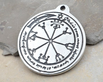 Protection Talisman Pewter Pendant, 1pc, 30mm,  Round Pendant, Made in USA -P355