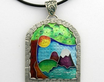 Cloisonne pendant - Mountain Lake- Sterling Silver & Fine Silver - Cloisonne Pendant