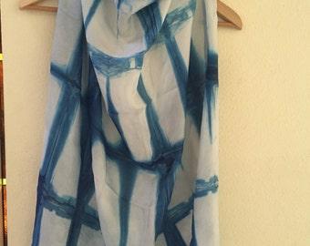 Indigi dyed silk shibori tye dye scarves
