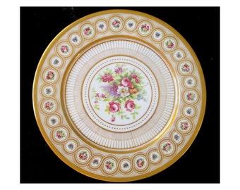 Large GUERIN LIMOGES FRANCE Floral Gilt Plate