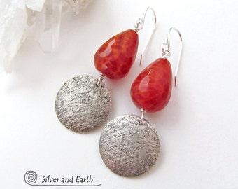 Fire Agate Earrings, Handmade Sterling Silver Earrings, Orange Earrings, Faceted Gemstone Jewelry, Fire Agate Jewelry, Silver Drop Earrings