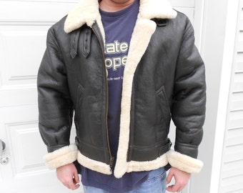 Leather Bomber Jacket / Shearling Sheepskin Jacket / Mens  Pilot Coat  Sale