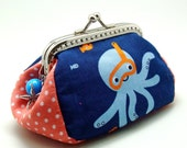 Octopus - Small clutch / Coin purse (S-285) R1