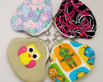 Big SALE - Set of 4 - Bridesmaid gift / Wedding gift / Christmas gift / Small clutch / Coin purse (G14)