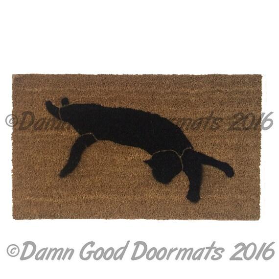 Black cat silhouette Halloween doormat stretching door mat