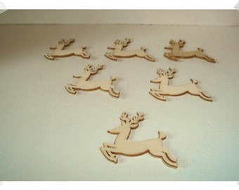 Unfinished Wooden Cutouts-  6/Reindeers OR 6/Pumpkins / Craft Supplies*