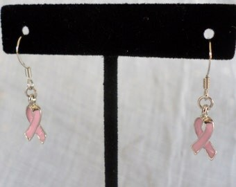 Breast Cancer Pink Ribbon Earrings