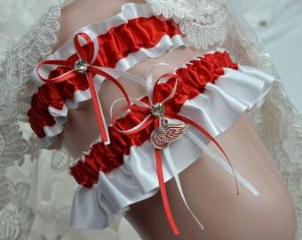 Wedding Garter Set Red Wing Theme -Wedding Garter-Bridal Garter- Sport Garter