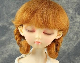 Fatiao - New Dollfie MSD Kaye Wiggs 1/4 BJD Size 7-8 inch - Dolls Mohair Wig - Caramel