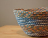 Cloth Coil Bowl with Gingham and Geometric Stripes