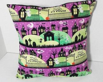 "Halloween haunted house pillow cover, white ghost, spooky graveyard, Halloween pillow slip, black cat, 14"", 12"", 16 inch, 12x16"" custom"