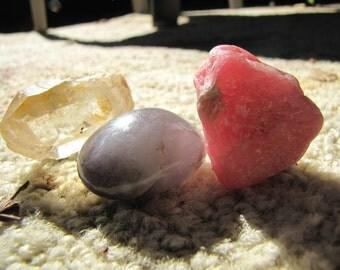 Crystal Set Lemurian Natural Point/ Rhodochrosite Rough Stone & Amethyst Crystal Polished Stone- Chakra/Reiki Set
