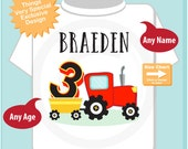 Third Birthday Red Farm Tractor Shirt, Personalized 3 year old Farmer Shirt, 3rd Birthday tractor Shirt, childs name and age (09242015a)