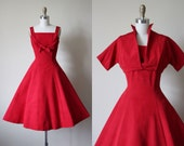 50s Dress - Vintage 1950s Party Dress - Red Silk Princess Cocktail Party Dress and Bolero S - Candy Apple Dress