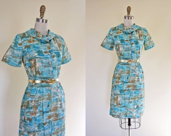1950s Dress - Vintage 50s Dress - Turquoise Gold Atomic Print Cotton Wiggle Dress M - Arizona Dreaming Dress