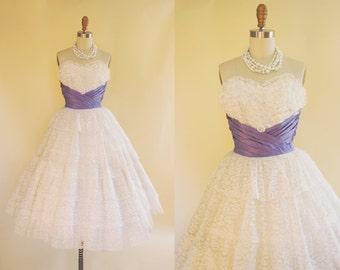 1950s Dress - Vintage 50s Dress - White Lace Lavender Taffeta Wedding Party Prom Dress XS - Confectioner's Sugar Dress
