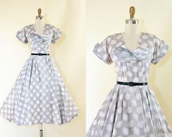 1950s Dress - Vintage 50s Dress - Pearl Grey Black Neutral Novelty Branch Print Wedding Party Dress S - Winter Wreath Dress