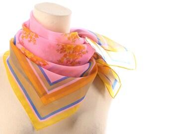 Sheer Pink Kerchief 60s FLOWERS Printed Scarf Nylon Blue Yellow Stripes Print Vintage 1960s Mod Neck Kerchief Transparent Retro Womens Gift
