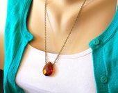 Elixir of Courage - Necklace - A Dark Amber Quartz Glass - Necklace - Gift for Women - Jewelry by HoneyNest