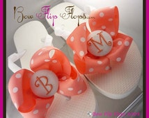 Bridesmaid Flip Flops - coral polka bows with monogram initial- designed in your choice of size and colors for the wedding- bridal party