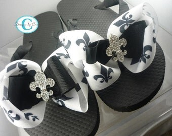Fleur de Lis Bow Flip Flops  Rhinestone, choose your bow colors,  Bling Buckle B