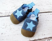 Classic Vegan Upcycled Denim Light Blue Star / non-slip soft sole baby shoes / made to order / babies toddlers preschool