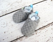 Wool Grey Checkerboard All fabric Soft SoleBaby Shoes   Made to Order