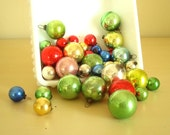 "50 pcs vintage Shiny Brite ornaments, 1950s mercury glass ornaments, tiny 1"" and 1/2"" Christmas balls for feather trees & bottle brush trees"