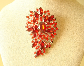 Red rhinestone pin, paisley shaped brooch, vintage costume jewelry, Christmas brooch, holiday accessory, statement piece