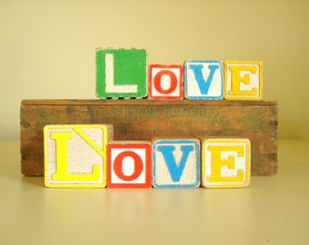 LOVE vintage wood blocks, choice of letter blocks, alphabet blocks, Valentines Day gift, engagement photo prop, inspirational couples gift