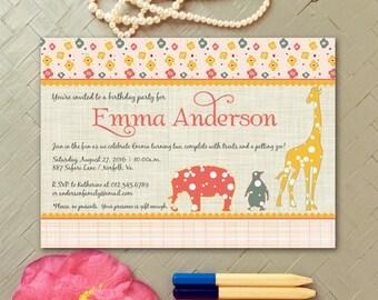 Pink Zoo Birthday Party Invitation Girl | Animal Baby Girl Shower Invitations | Giraffe, Elephant, Penguin Invitation | Petting Zoo Invites