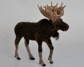 Needle Felted  Animal. Felted  Moose. Made to order