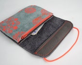 Wallet of green and brown leather with red accents
