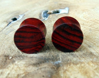 14mm Cocobolo ear plugs, Central American Rosewood ear gauges, hand turned, organic